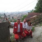 With colleagues on the hills above Sarajevo, Bosnia & Herzegovina