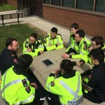 Debriefing with first year paramedic students after a simulation scenario.